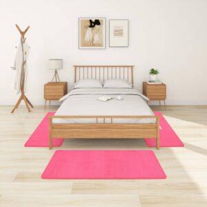 Tapetes de quarto shaggy pelo alto 3 pcs rosa - PORTES GRÁTIS - 70 x 140 cm - 60 x 100 cm