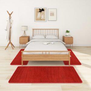 Tapetes de quarto shaggy pelo alto 3 pcs vermelho - PORTES GRÁTIS - 100 x 200 cm - 70 x 140 cm