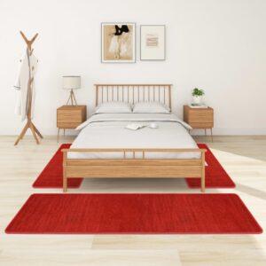 Tapetes de quarto shaggy pelo alto 3 pcs vermelho - PORTES GRÁTIS - 70 x 250 cm - 60 x 100 cm