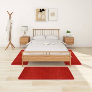 Tapetes de quarto shaggy pelo alto 3 pcs vermelho - PORTES GRÁTIS - 70 x 140 cm - 60 x 100 cm