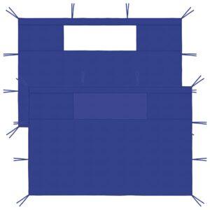 Paredes laterais para gazebo com janelas 2 pcs azul - PORTES GRÁTIS