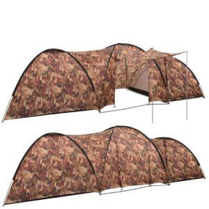 Tenda iglu de campismo 650x240x190 cm 8 pessoas camuflagem - PORTES GRÁTIS
