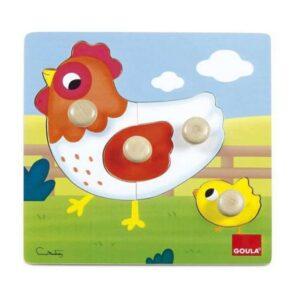 Puzzle Infantil Goula Hen Diset Madeira (4 pcs)