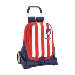 Mochila Escolar com Rodas Evolution Atlético Madrid Azul Branco Vermelho