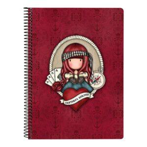 Caderno de Argolas Gorjuss Mary Rose A5 Grená
