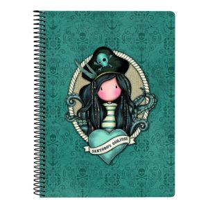 Caderno de Argolas Gorjuss Black Pearl Turquesa A5