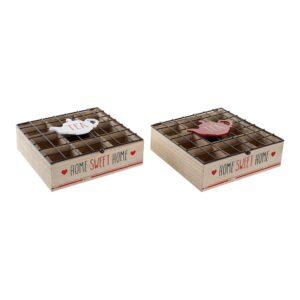 2 Caixas para Infusões DKD Home Decor Tea Metal Madeira MDF (24 x 24 x 8 cm)