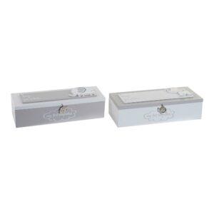 2 Caixas Decorativas DKD Home Decor Metal Madeira MDF (24 x 8 x 6 cm)