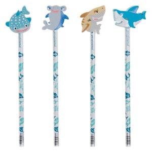 Pack de 4 Lápiz com Borracha DKD Home Decor Tubarão Azul Madeira