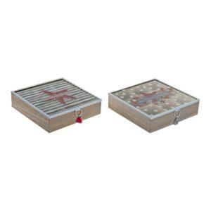 2 Caixas para Infusões DKD Home Decor Mediterranean Cristal Madeira MDF (24 x 24 x 7 cm)