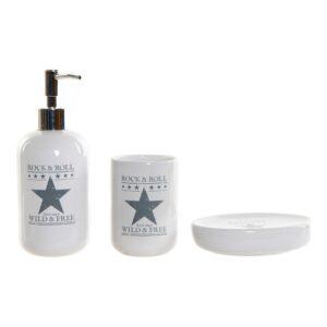 Conjunto de Banho DKD Home Decor Branco Cinzento ABS Mate Dolomite (3 pcs)