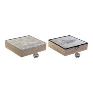 2 Caixas para Infusões DKD Home Decor Cristal Madeira MDF (24 x 24 x 7 cm)