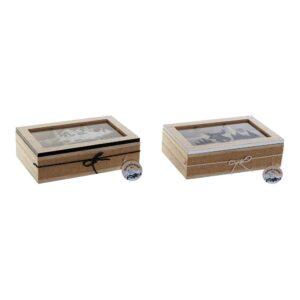 2 Caixas para Infusões DKD Home Decor Cristal Madeira MDF  (23 x 15.5 x 6.5 cm)