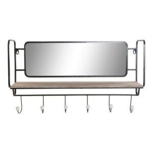 Bengaleiro de parede DKD Home Decor Metal Espelho Madeira MDF (71.5 x 16 x 42 cm)