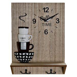 Relógio de Parede DKD Home Decor Expositor de Porta Metal Resina Madeira MDF (30 x 11.5 x 40 cm)