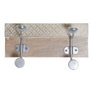 Bengaleiro de parede DKD Home Decor Metal Madeira de mangueira (30 x 10 x 15.5 cm)