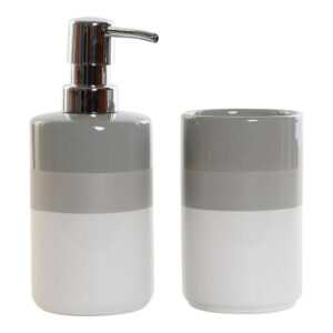 Conjunto de Banho DKD Home Decor Branco Cinzento Plástico Cromado Dolomite (2 pcs)