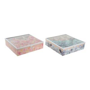 2 Caixa para Infusões DKD Home Decor My Tea Cristal Madeira MDF (24 x 24 x 6.5 cm)