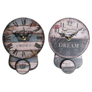 PACK 2 Relógios de Parede DKD Home Decor Pêndulo Ferro Madeira MDF (14 x 5 x 19 cm)