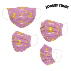 Máscara Higiénica em Tecido Reutilizável Looney Tunes Infantil Cor de Rosa