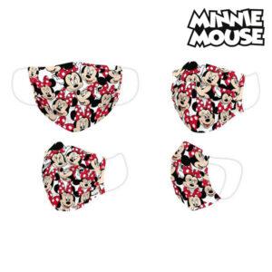 Máscara Higiénica Minnie Mouse Infantil Vermelho