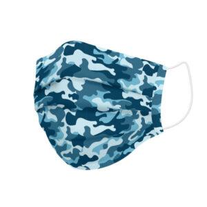 Máscara Higiénica em Tecido Reutilizável Adulto Azul Camuflagem