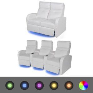 Poltrona reclinável LED 2+3 lugares, 2 pcs, couro art., branco  - PORTES GRÁTIS