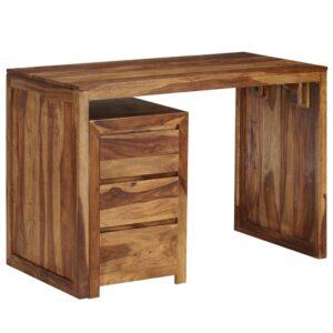 Secretária em madeira de sheesham maciça 110x55x76 cm - PORTES GRÁTIS