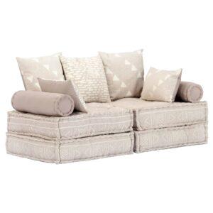 Sofá-cama modular de 2 lugares tecido bege - PORTES GRÁTIS