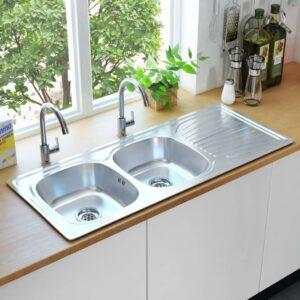 Lava-louças de cozinha com 2 cubas ralo e sifão aço inoxidável - PORTES GRÁTIS
