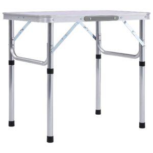 Mesa de campismo dobrável 60x45 cm alumínio branco - PORTES GRÁTIS