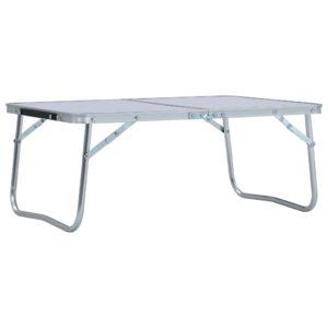 Mesa de campismo dobrável 60x40 cm alumínio branco - PORTES GRÁTIS