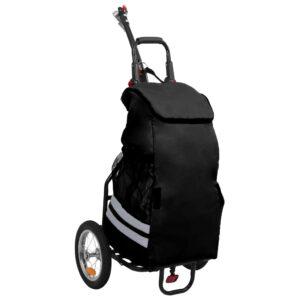 Reboque para bicicleta com saco de compras preto - PORTES GRÁTIS