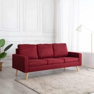 Sofá de 3 lugares tecido vermelho tinto - PORTES GRÁTIS