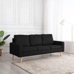 Sofá de 3 lugares tecido preto - PORTES GRÁTIS