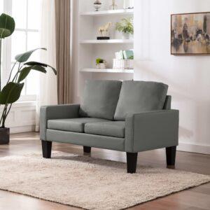 Sofá de 2 lugares couro artificial cinzento - PORTES GRÁTIS