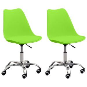 Cadeiras de escritório 2 pcs couro artificial verde  - PORTES GRÁTIS
