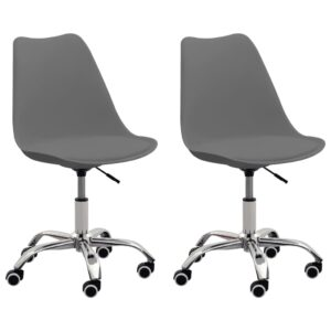 Cadeiras de escritório 2 pcs couro artificial cinzento  - PORTES GRÁTIS