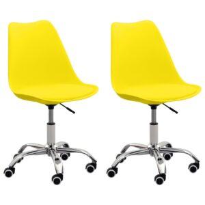 Cadeiras de escritório 2 pcs couro artificial amarelo  - PORTES GRÁTIS