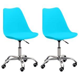 Cadeiras de escritório 2 pcs couro artificial azul  - PORTES GRÁTIS