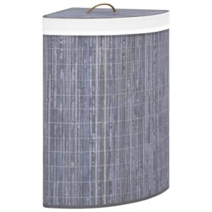 Cesto de canto para roupa suja 60 L bambu cinzento - PORTES GRÁTIS