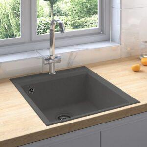 Lava-louça cozinha c/ orifício extravasamento granito cinzento - PORTES GRÁTIS