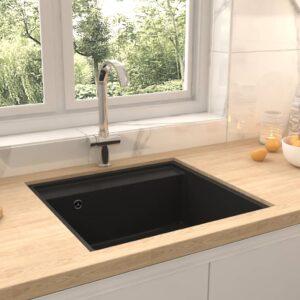 Lava-louça cozinha c/ orifício extravasamento granito preto - PORTES GRÁTIS