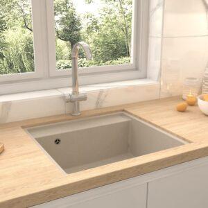 Lava-louça cozinha c/ orifício extravasamento granito bege - PORTES GRÁTIS