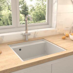 Lava-louça cozinha c/ orifício extravasamento granito branco - PORTES GRÁTIS