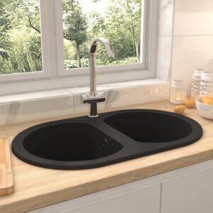 Lava-louça cozinha cuba dupla oval granito preto - PORTES GRÁTIS