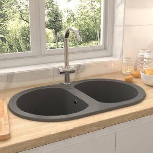Lava-louça cozinha cuba dupla oval granito cinzento - PORTES GRÁTIS