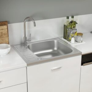Lava-louça cozinha + escorredor 500x600x155mm aço inox prateado - PORTES GRÁTIS