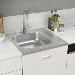 Lava-louça cozinha + escorredor 600x600x155mm aço inox prateado - PORTES GRÁTIS
