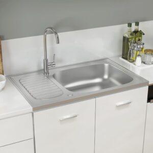 Lava-louça cozinha + escorredor 800x500x155mm aço inox prateado - PORTES GRÁTIS
